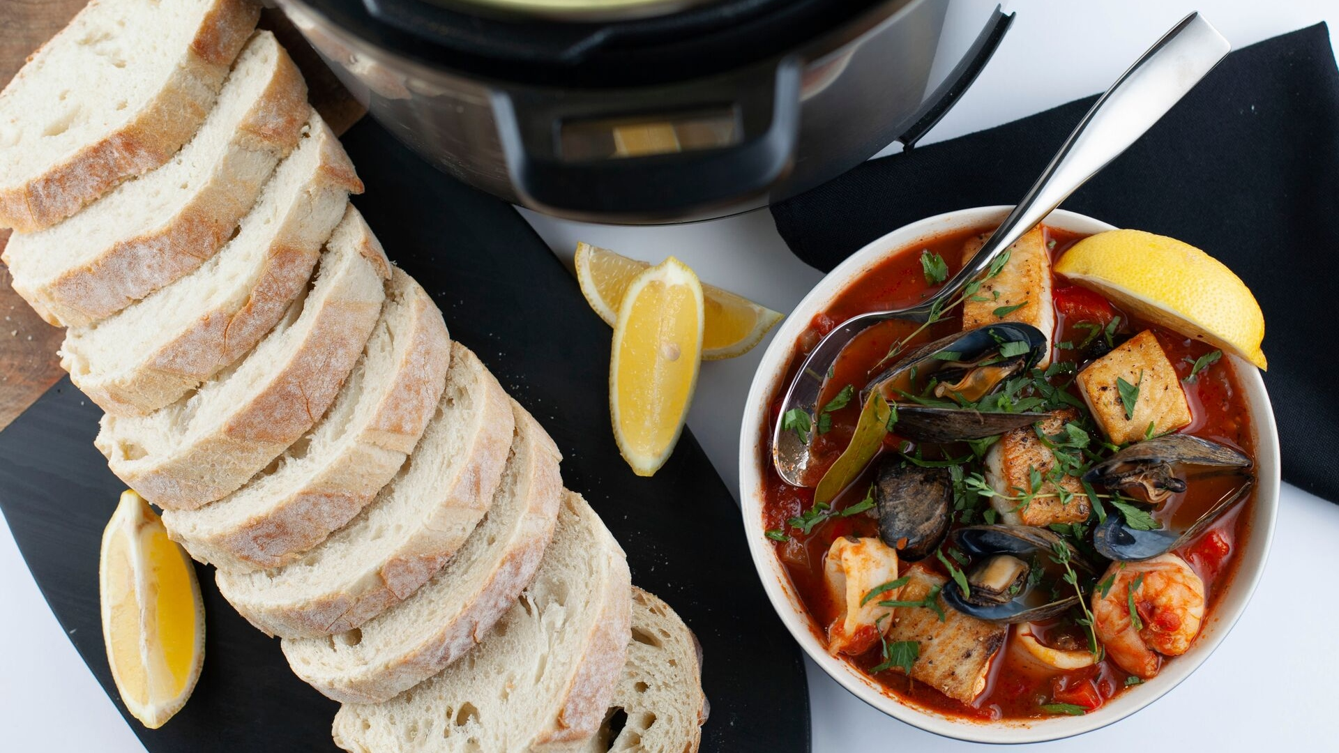 Warm Cioppino Seafood Stew Lunch With Shrimp White Fish Mussels And More