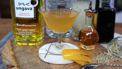 Martini with gin, Scotch whisky and orange bitters