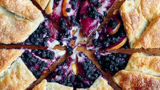 Pear blueberry cheesecake galette