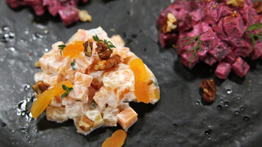 Butternut squash and beetroot tartare