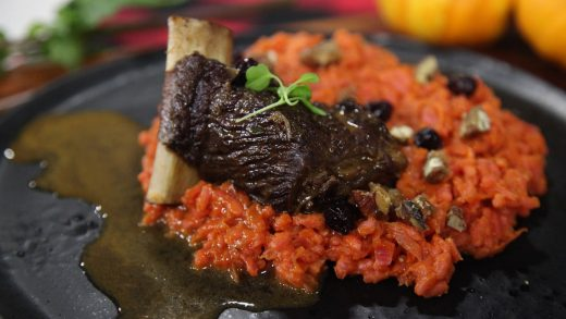 Roasted pumpkin and smoked maple vegetable risotto with braised bison short rib
