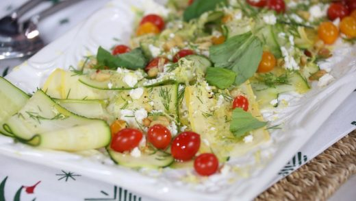 Vegetable ribbon salad with lemon, dill, feta and toasted pinenuts