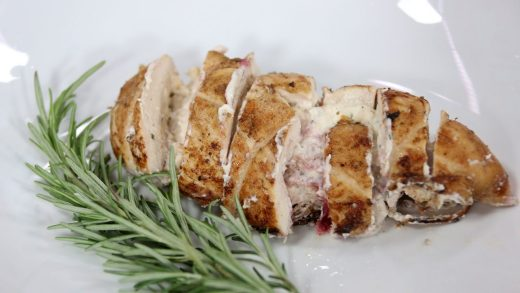 Holiday cranberry herb and cream cheese stuffed chicken