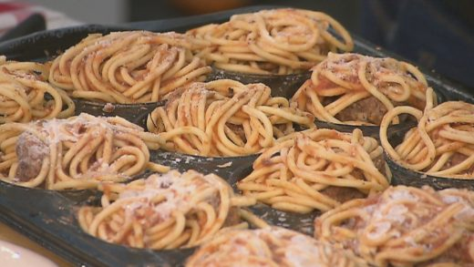 Deep fried spaghetti and meatballs
