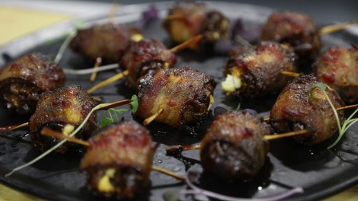 Bacon wrapped dates with goat cheese and dark chocolate