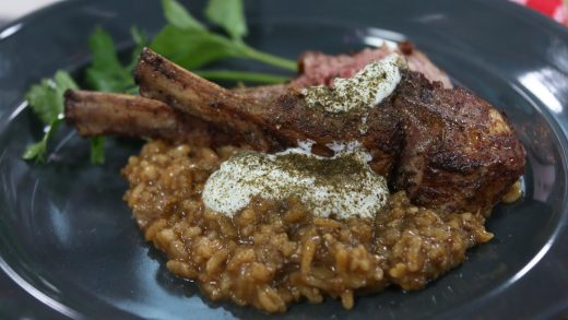 Grape leaf rack of lamb with spiced risotto and yogurt