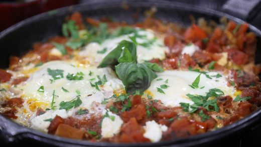 BBQ one-skillet eggs in tomato sauce