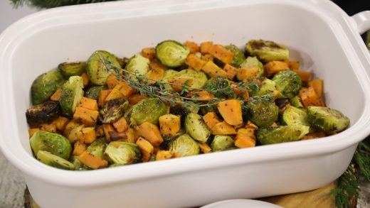 Easy roasted Brussels sprouts with sweet potatoes