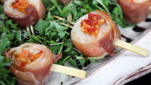 Prosciutto-wrapped scallops a la antipasto