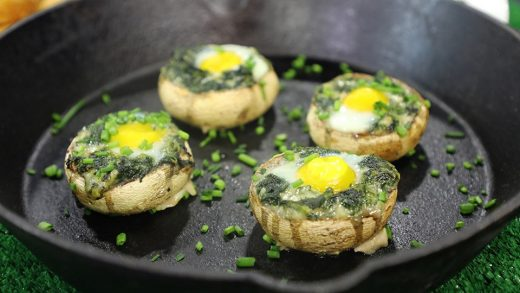 Blue cheese, spinach and egg-stuffed mushrooms