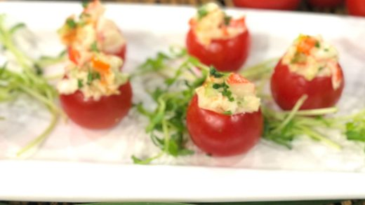 Harbour Island lobster salad in campari cups