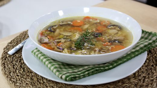 Chicken soup with mushrooms and barley