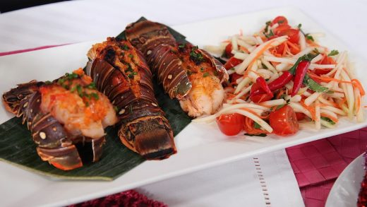 Som Tam with spicy grilled lobster