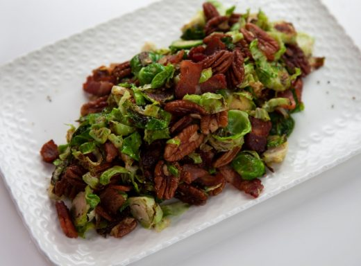 Warm Brussels sprouts and bacon
