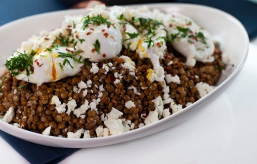 Warm lentils and poached egg