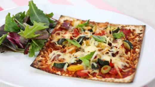 Vegetarian matzah pizza