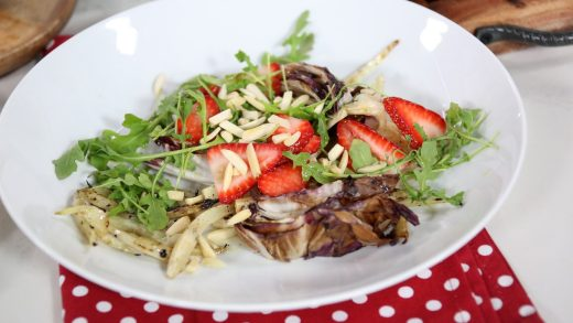 Grilled radicchio and fennel salad with strawberry and almond