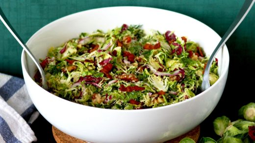 Brussels sprouts slaw with bacon vinaigrette