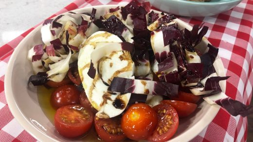Bufala mozzarella and blistered tomatoes, with radicchio
