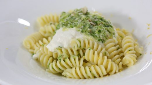 Green garlic pasta with whipped ricotta and lemon