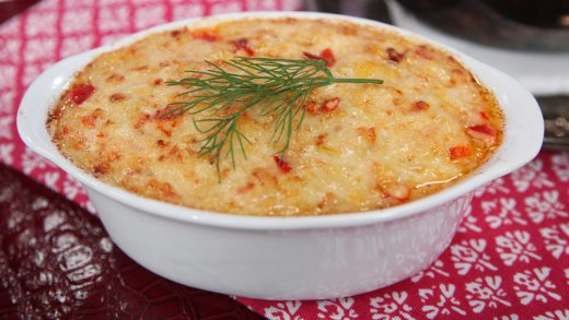 Hot lobster dip with old bay potato chips