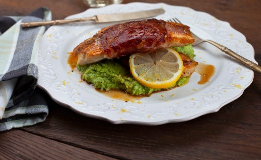 Pancetta wrapped snapper with pea mash