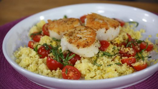 Fennel spiced scallops with saffron couscous