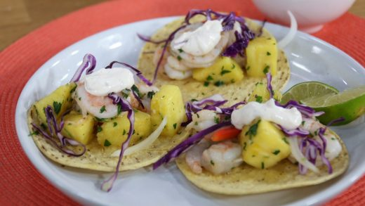 Grilled herb shrimp tacos with chipotle crema