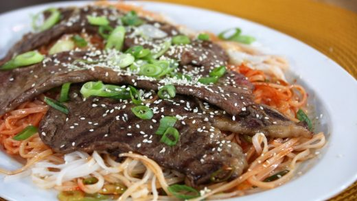 Korean noodles with grilled short rib