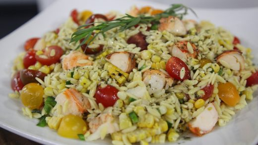 Orzo salad with lobster and charred corn