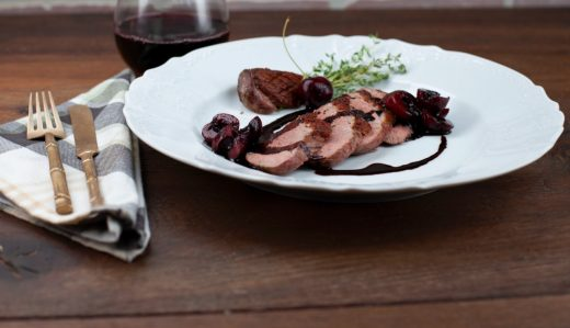 Duck breast with balsamic cherry sauce