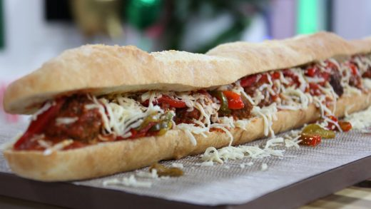 Giant mozzarella stuffed meatball sub with Calabrian chiles