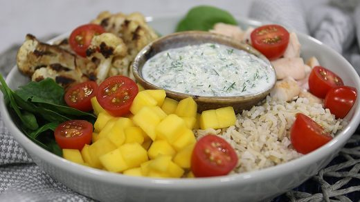 Masala veggie and chicken bowls with cucumber raita