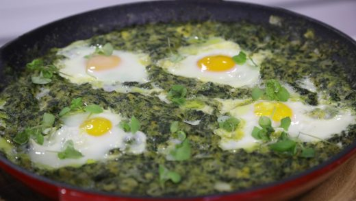 Breakfast polenta with green chilies and eggs
