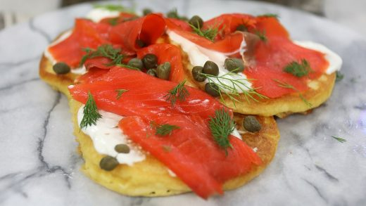 Spicy pancakes with smoked salmon and dill