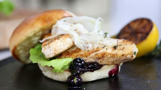 Halibut burger with blueberry relish