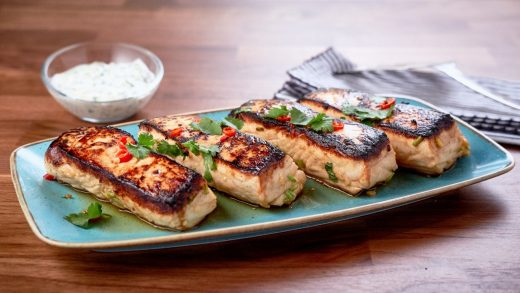 Seared chili ginger halibut