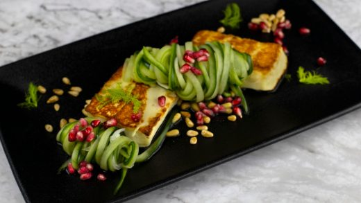 Cucumber fennel salad with halloumi