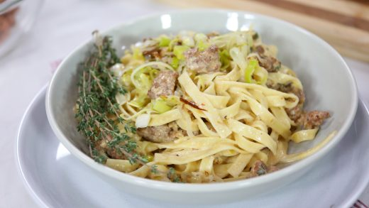 Tantalizing tagliatelle with Italian sausage and creamy leek sauce