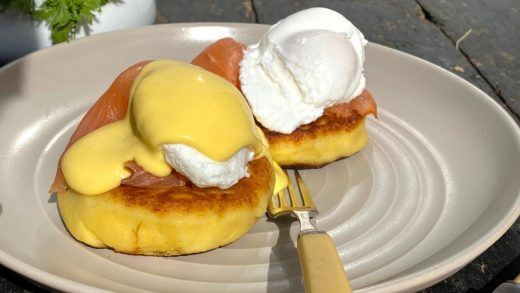 Irish potato cake and smoked salmon benedict