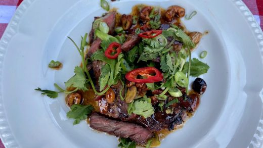 Marinated short ribs with peanut salsa