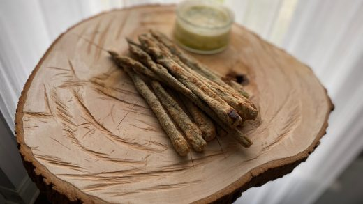 Asparagus fries with honey dill sauce