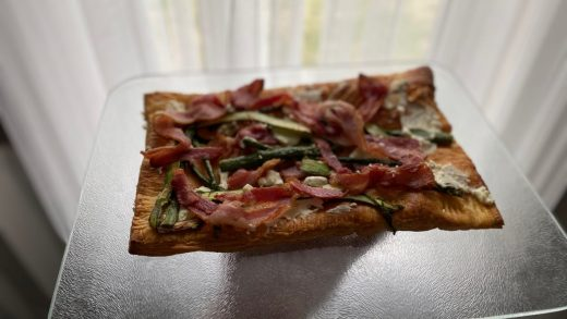 Goat cheese, bacon, asparagus tart