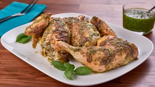 Roasted spatchcock pesto chicken