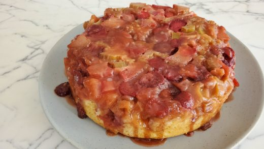 Strawberry-rhubarb upside down cake