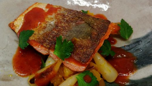 Pan seared Chinook salmon