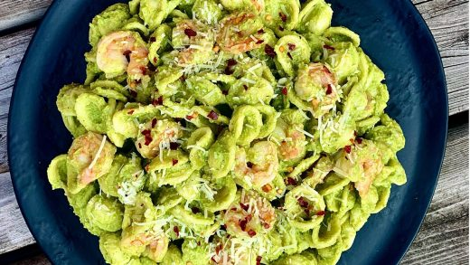 Pea pesto and shrimp pasta salad