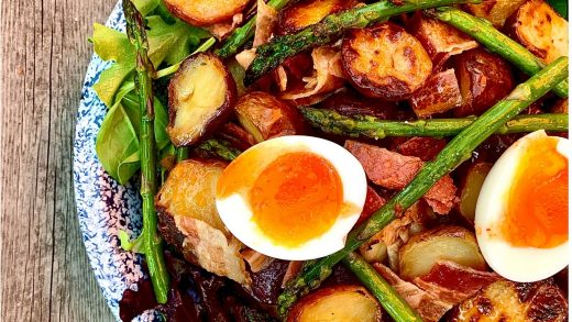 Roasted new potato and asparagus salad with jammy eggs (soft boiled) and a spicy vinaigrette