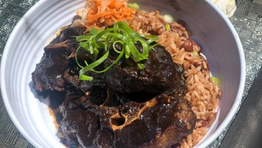 Oxtail with djon djon gravy