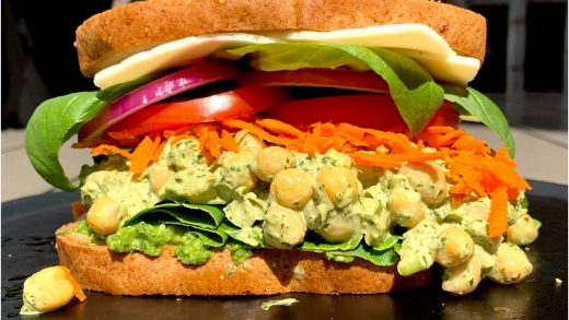 Loaded chickpea and veggie sandwich